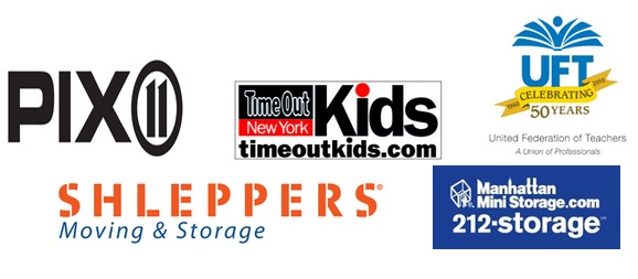 Logos for PIX11, Time Out Kids, Schleppers Moving and Storage, UFT, and Manhattan Mini Storage