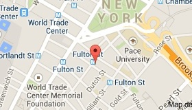 Map showing the location of the Coalition for the Homeless at 129 Fulton Street.
