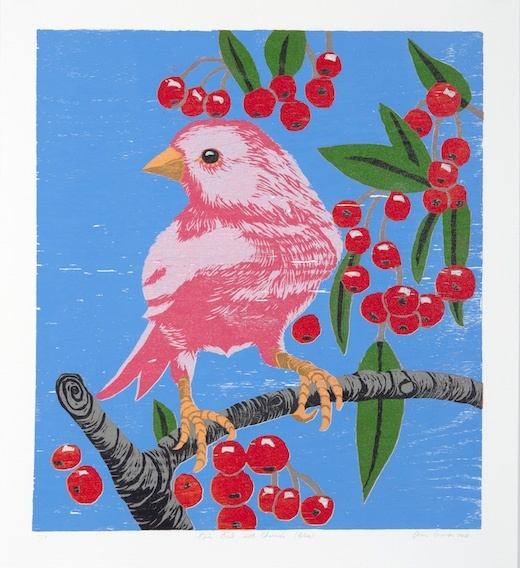 Pink Bird with Cherries (Blue), 2011