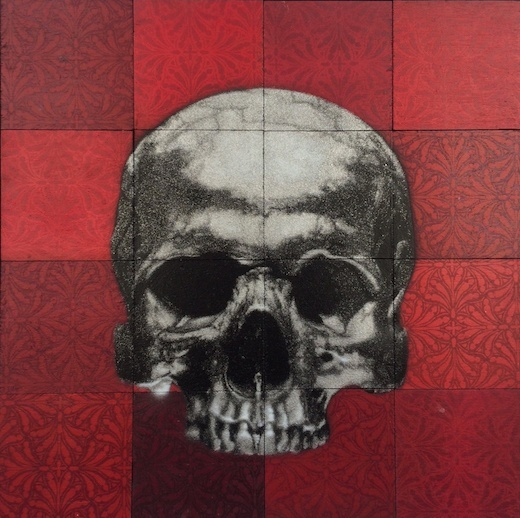 Silver Skull on Red Mosaic Tile, 2015