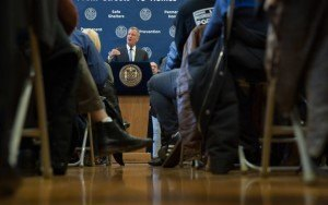 Mayor Bill de Blasio announces a comprehensive plan to ensure homeless services are delivered as efficiently and effectively as possible during a press conference at the offices of BronxWorks in the Bronx on Monday, April 11, 2016. Michael Appleton/Mayoral Photography Office