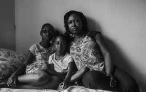 Filecia Pedley and her two daughters at their home in Brownsville, Brooklyn.