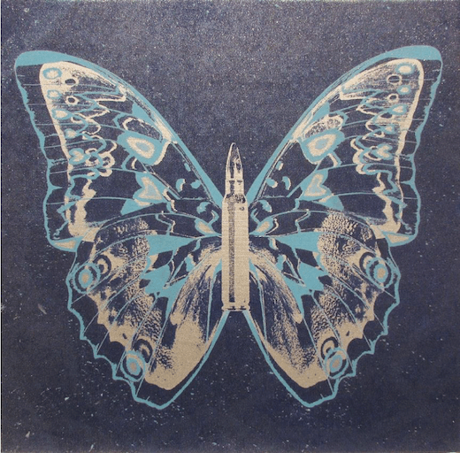 Silver - Light Blue Butterfly II on Denim Blue, 2017