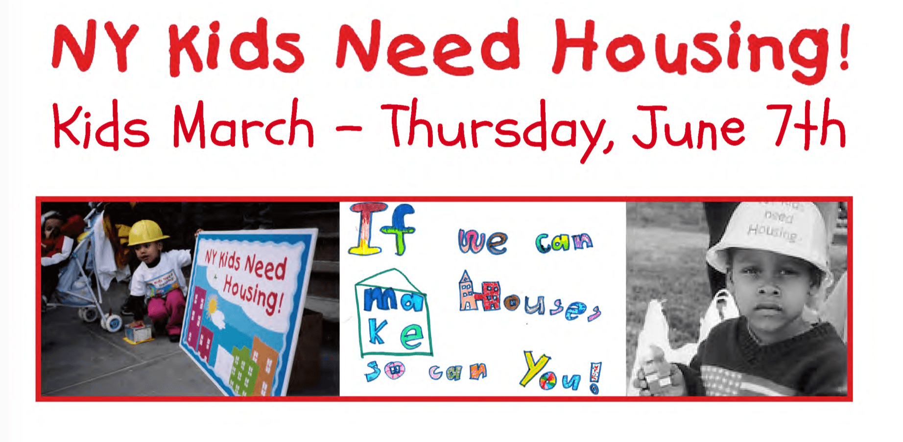 Flyer of NY Kids Need Housing March on June 7th