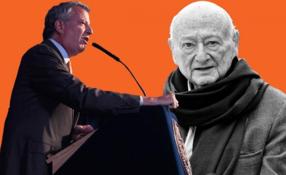 Cut out photo of Mayor de Blasio and former Mayor Koch on orange background.