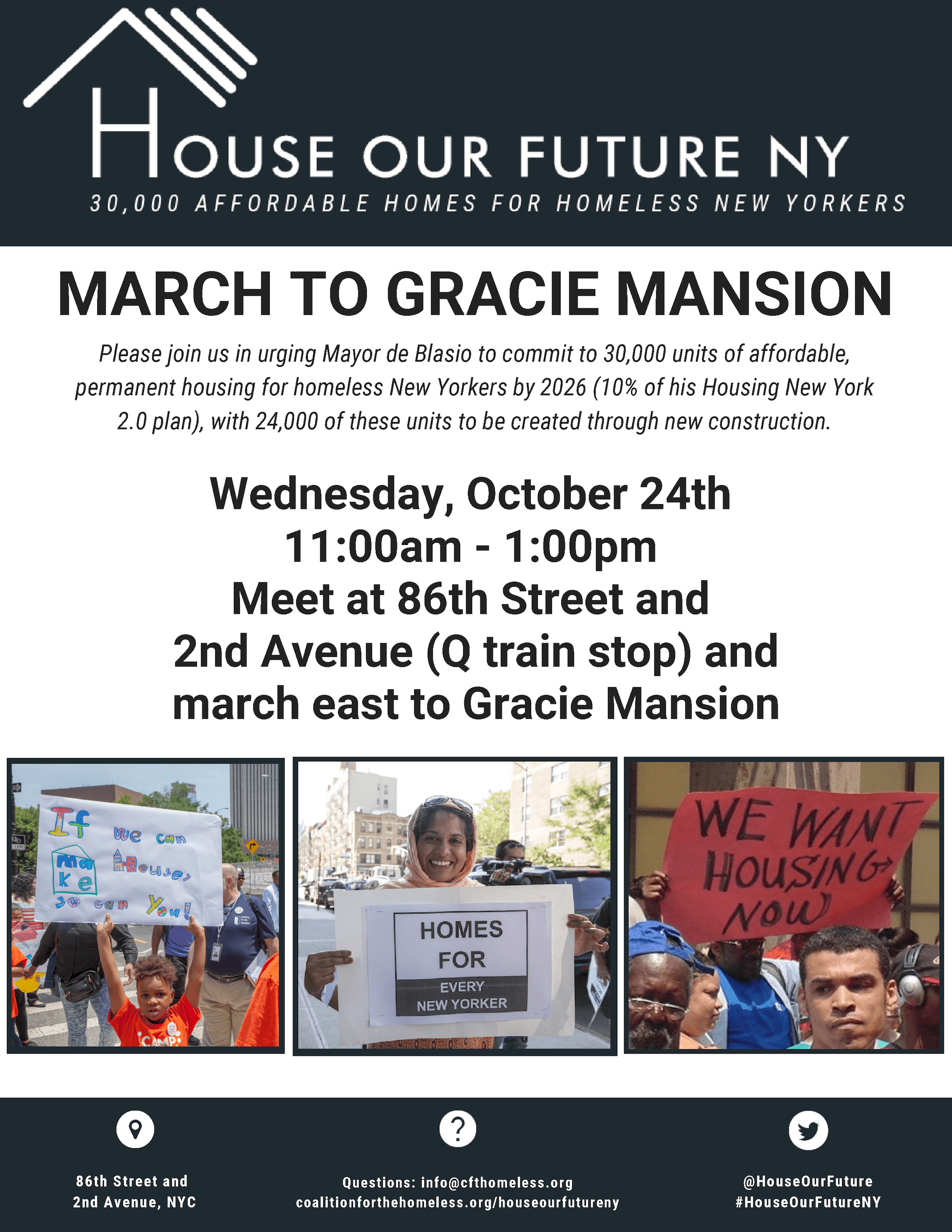 Poster for the March to Gracie Mansion on October 24th