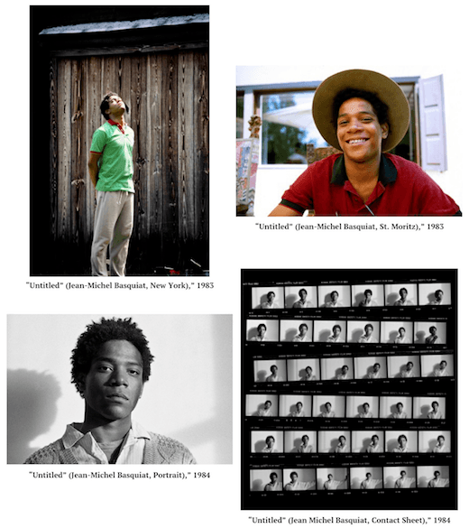 Untitled (Jean-Michel Basquiat, New York), 1983; Untitled (Jean-Michel Basquiat, St. Moritz), 1983; Untitled (Jean-Michel Basquiat, Portrait), 1984; Untitled (Jean-Michel Basquiat, Contact Sheet), 1984