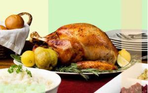 A table set with a roast turkey