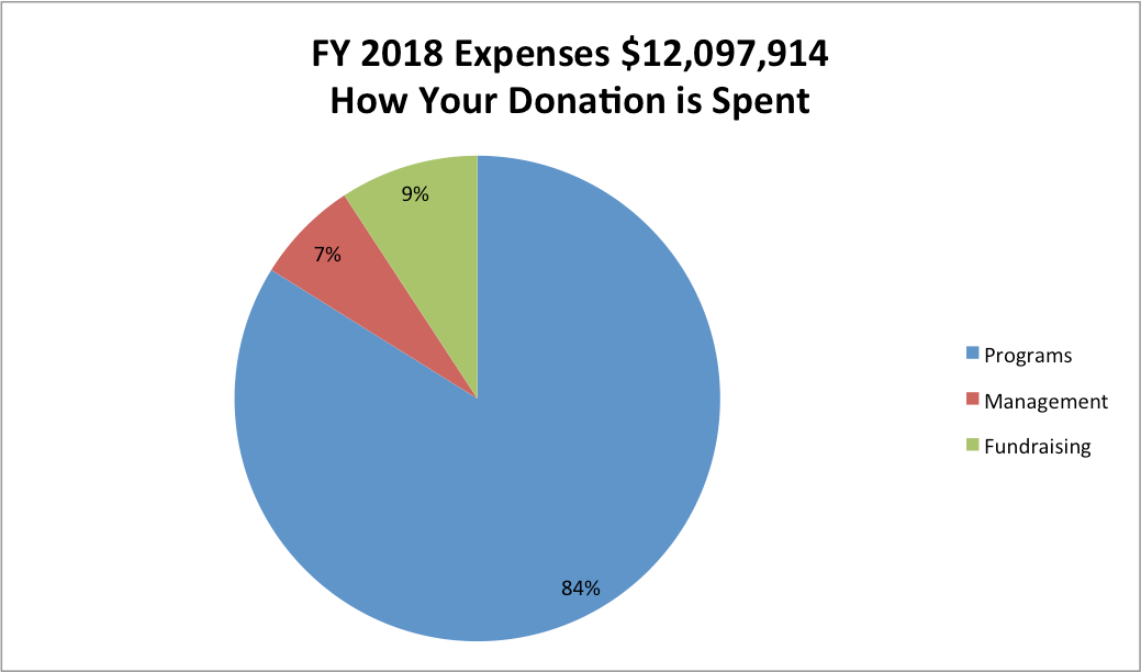 Pie Chart: Title: FY18 Expenses $12,097,914 – How Your Donation is Spent; Data: 84% Programs, 9% Fundraising, 7% Management
