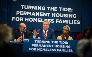 Mayor de Blasio speaking at his Turning the Tide event