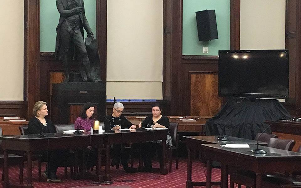 Representatives from the Coalition for the Homeless and Legal Aid Society testifying inside City Hall