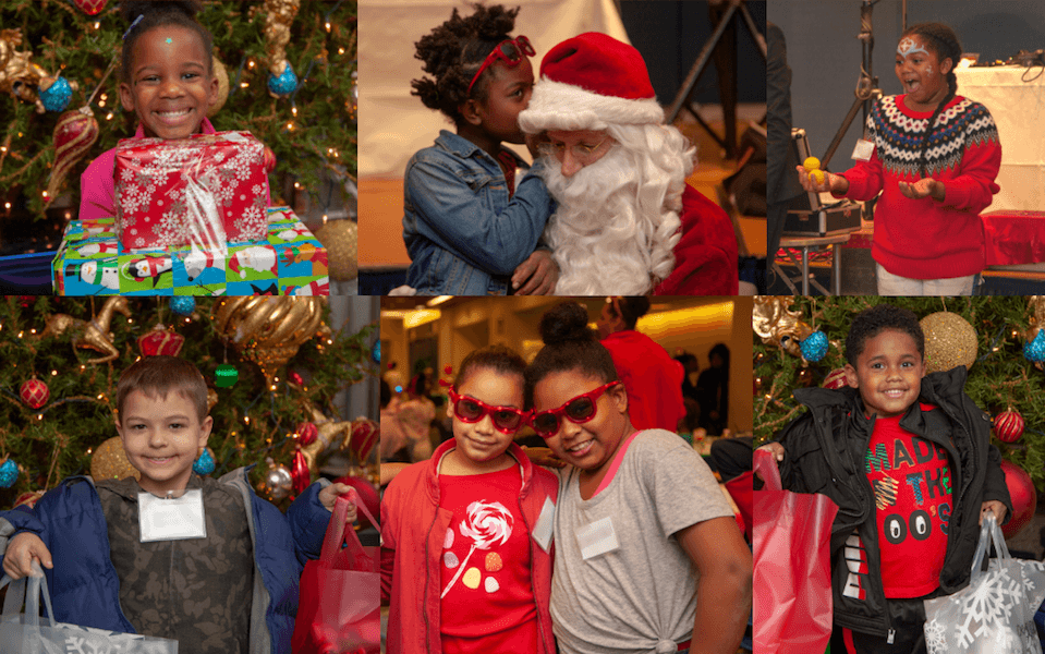 Photo collage of kids with holiday gifts.