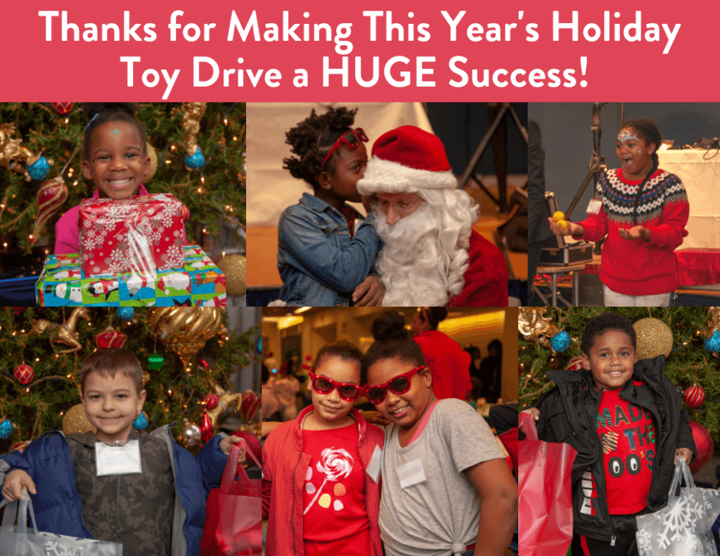 Photo collage of kids with holiday gifts. CAPTION: Thank you for making this year's holiday toy drive a huge success!