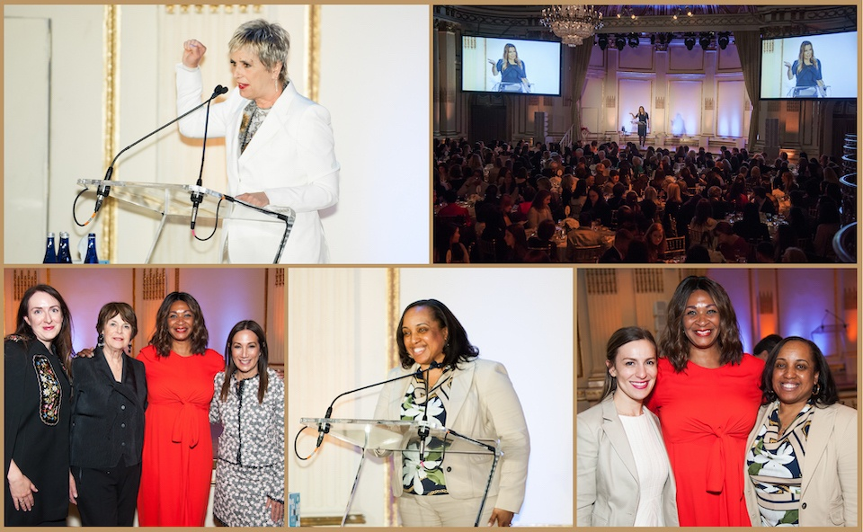 Photo collage featuring pictures from the 25th Anniversary Women Mean Business Luncheon. TOP: Eve Ensler; Lisa Evers speaking to a full room of attendees; BOTTOM: Representatives from the Estee Lauder Companies; First Step Graduate Marisol; Senator Biaggi with First Step Graduates Cynthia and Marisol