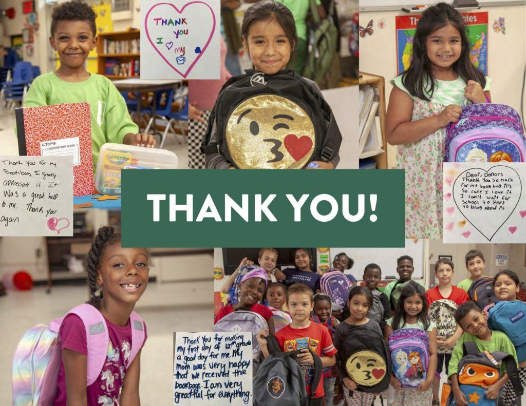 Photo collage featuring kids and thank you notes from the Project: Back to School Drive