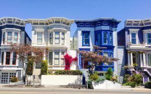 Row of colorful housing in San Francisco