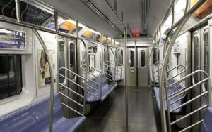 Interior of an empty subway train