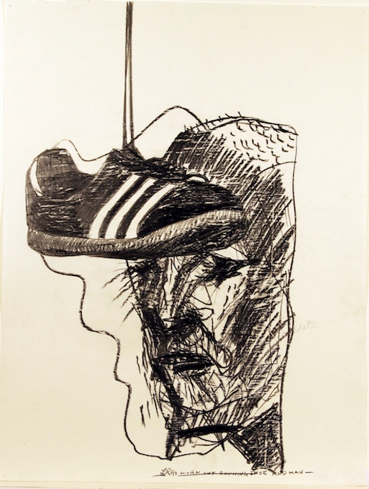 Worn Out Running Shoe and Man, 1990