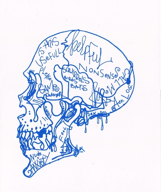 Blue Skull Mind Chatter / Based on the Cellphone, 2019