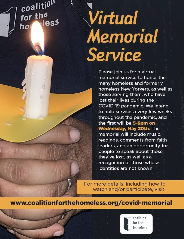 candle in background text for virtual memorial service