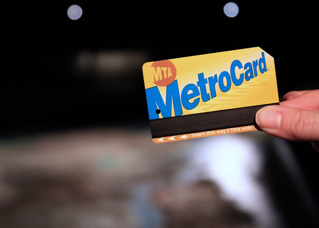 A focused shot of a MetroCard