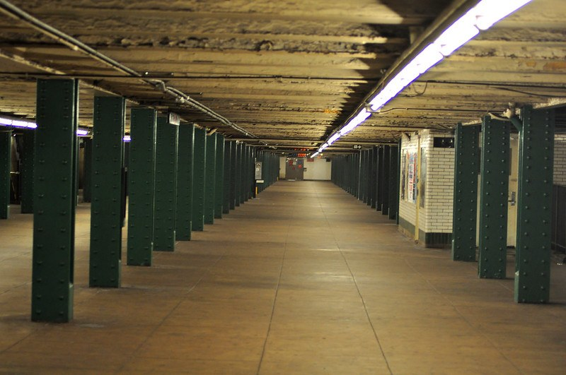 The inside of an empty subway station
