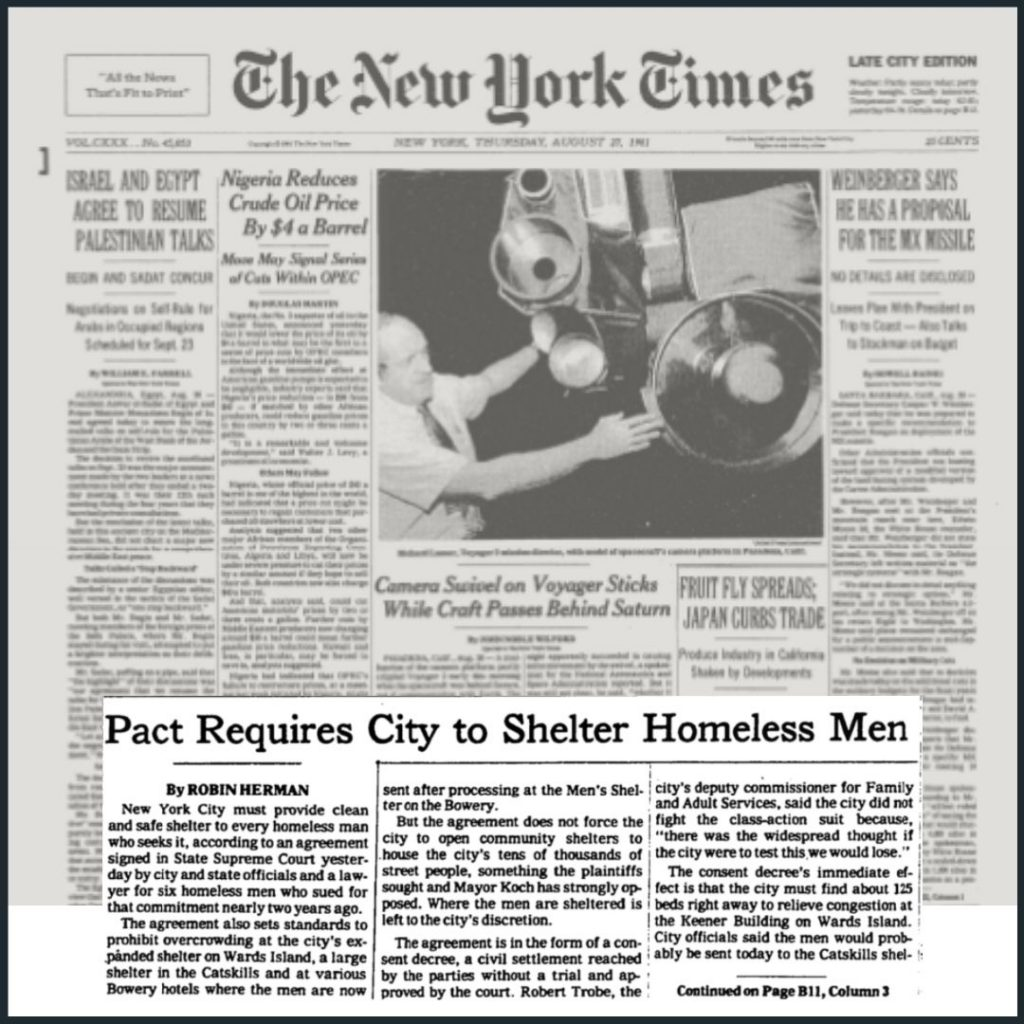 """A 1981 New York Times front page with an article pulled out and highlighted that reads """"Pact Requires City to Shelter Homeless Men,"""" by Robin Herman."""